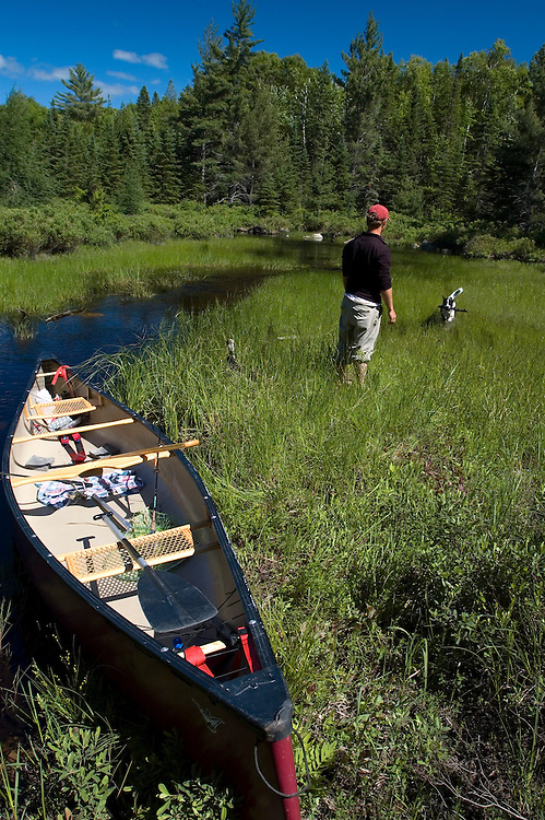 A man plays fetch with a dog while canoeing in Craig Lake State Park near Michigamme Michigan.