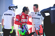 February 21, 2012: Formula One Testing, Circuit de Catalunya, Barcelona, Spain. Felipe Massa, Ferrari F2012, Michael Schumacher, Mercedes W03