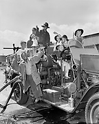 """Y-480806B-01.  """"August 6, 1948"""" Children on the fire truck of the Engine 24 company, at 5340 N Interstate, at the corner of Willamette, one block south of Killingsworth. This fire department serviced the area around North Portland in the area around the Overlook neighborhood, Swan Island and Jefferson High school."""