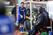 Pedro of Chelsea looks for a seat on the bench after being substituted. Premier league match, Burnley v Chelsea at Turf Moor in Burnley, Lancs on Sunday 12th February 2017.<br /> pic by Chris Stading, Andrew Orchard Sports Photography.