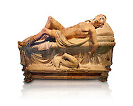 High picture of the Etruscan funerary monument  known as  Adonis Dying, late 3rd century BC, made of terracotta and discovered near Tuscania, inv 14147, The Vatican Museums, Rome. White Background. For use in non editorial advertising apply to the Vatican Museums for a license. .<br /> <br /> If you prefer to buy from our ALAMY PHOTO LIBRARY  Collection visit : https://www.alamy.com/portfolio/paul-williams-funkystock/vatican-museums-etruscan.html<br /> <br /> Visit our ETRUSCAN PHOTO COLLECTIONS for more photos to download or buy as wall art prints https://funkystock.photoshelter.com/gallery-collection/Pictures-Images-of-Etruscan-Historic-Sites-Art-Artefacts-Antiquities/C0000GgxRXWVMLyc