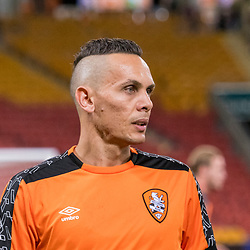 BRISBANE, AUSTRALIA - APRIL 2: Jade North of the Roar warms up before the round 25 Hyundai A-League match between the Brisbane Roar and Central Coast Mariners at Suncorp Stadium on April 2, 2017 in Brisbane, Australia. (Photo by Patrick Kearney/Brisbane Roar)