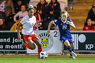 Eseosa Aigbogun (#19) of Switzerland and Erin Cuthbert (#22) of Scotland chase after the loose ball during the 2019 FIFA Women's World Cup UEFA Qualifier match between Scotland Women and Switzerland at the Simple Digital Arena, St Mirren, Scotland on 30 August 2018.