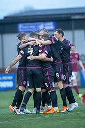 Arbroath's Bobby Linn celebrates after scoring their first goal. Stenhousemuir 1 v 4 Arbroath, Scottish Football League Division One play12/1/2019 at Ochilview Park.