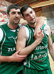Slobodan Bozovic and Luka Dimec of Lasko after winning the basketball match between KK Geoplin Slovan and KK Zlatorog Lasko in 4th Quarterfinal of Spar Slovenian Cup, on February 11, 2011 in Sportna dvorana Poden, Skofja Loka, Slovenia. Zlatorog defeated Slovan 79-72. (Photo By Vid Ponikvar / Sportida.com)