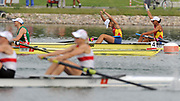 Shunyi, CHINA. ROM W2-, Gold medalist, Bow, Georgeta ANDRUNACHE and Viorica SUSANU , at the 2008 Olympic Regatta, Shunyi Rowing Course.  Sat,.16.08.2008.  [Mandatory Credit: Peter SPURRIER, Intersport Images