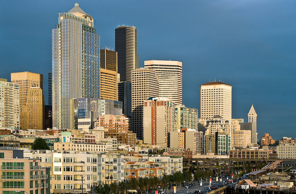 View of city skyline at sunset, Seattle, Washington