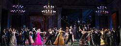 The Merry Widow <br /> By Franz Lehar (1870-1948) <br /> English National Opera at the Coliseum, London, Great Britain <br /> Rehearsal <br /> 27th February 2019 <br /> Directed by Max Webster <br /> Rehearsal <br /> <br /> <br /> Sarah Tynan as Hanna Giawari <br /> <br /> Nathan Gunn as Danilo <br /> <br /> Andrew Shore as Baron Zeta<br /> <br /> Robert Murray as Camille <br /> <br /> Rhian Lois as Valencienne <br /> <br /> Nicholas Lester as Vicomte Cascada <br /> <br /> Jamie McDougall as Raoul de st Brioche <br /> <br /> Paul Sheehan as Bagdanowitsch <br /> <br /> Lydia Marchione as Sylviane <br /> <br /> Adam Sullivan as Kromow <br /> <br /> Deborah Davison as Olga <br /> <br /> Trevor Eliot Bowes as Pritschitsch <br /> <br /> Natalie Herman as Praskowia<br /> <br /> Gerard Carey as Njegus <br /> <br /> <br /> Photograph by Elliott Franks