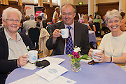 John Hemming MP  in discussion with her constituents Sister Patricia Byrne (L) and Aister Pat Kenny (R) at the Tea time for change event. Refreshing the call for justice. Organised by the UK's leading NGO's.  Enabling constituants to dicuss the subject with their MP.