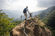 Hiking one of the razorback ridges near Taipei, Taiwan.