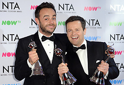 Anthony McPartlin and Declan Donnelly in the press room after the National Television Awards 2018 held at the O2, London. Photo credit should read: Doug Peters/EMPICS Entertainment