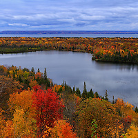 """""""Autumn Spectacle""""<br /> <br /> Beautiful fall foliage overlooking Spectacle lake and Lake Superior in Michigan's Upper Peninsula!!<br /> <br /> Autumn Landscapes by Rachel Cohen"""