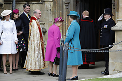 Princess Beatrice (left) Princess Eugenie (second left), Vice Admiral Sir Timothy Laurence, the Dean of Windsor David Conner, Queen Elizabeth II and the Princess Royal, arrive for the Easter Mattins Service at St George's Chapel, Windsor Castle, Windsor.