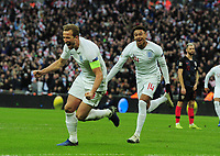 Football - 2018 / 2019 UEFA Nations League A - Group Four: England vs. Croatia<br /> <br /> Harry Kane of England celebrates scoring the winning goal with Jesse Lingard, at Wembley.<br /> <br /> COLORSPORT/ANDREW COWIE