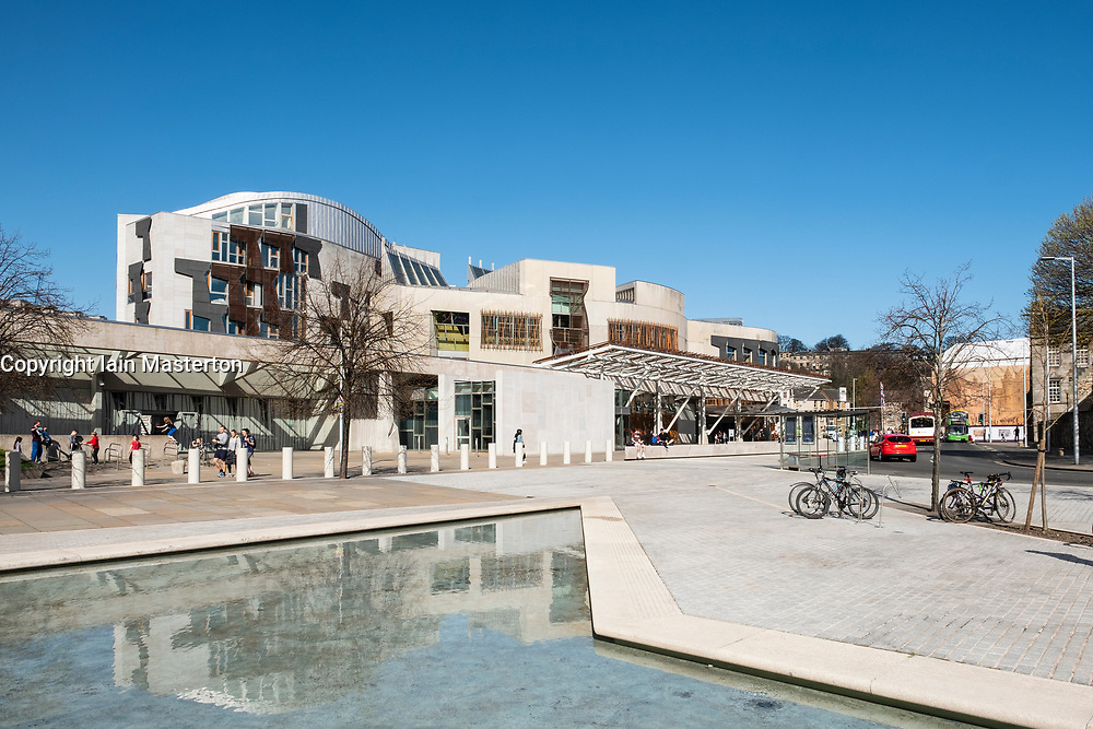 Exterior view of Scottish Parliament building at Holyrood in Edinburgh, Scotland, United Kingdom