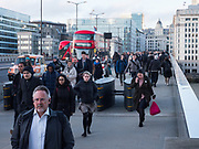 Commuters heading to London Bridge station, , London, 10 March 2020