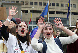 March 26, 2019 - Brussels, Belgium - A student strike action, organized by 'Youth For Climate', urging pupils to skip classes to protest a lack of climate awareness in Brussels. This marks the 12th consecutive week youths take the streets but this time on a Tuesday as there is a vote in a commission of federal parliament today. The action is inspired by the 'School Strike' of Swedish 15-year-old Greta Thunberg. (Credit Image: © Nicolas Maeterlinck/Belga via ZUMA Press)