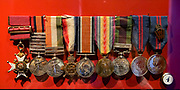 Medals in the Royal Scots Dragoon Guards Regimental Museum (Carabiniers and Greys) in Edinburgh Castle. Scotland, United Kingdom, Europe.