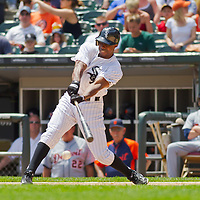 Chicago, IL - June 05, 2011:  Juan Pierre (1) hits against the Detroit Tigers at U.S. Cellular Field on June 5, 2011 in Chicago, IL.