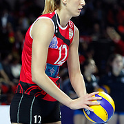 Vakifbank GS TT's Jelena NIKOLIC (C) during their Women's Volleyball CEV Champions League semi final match at Burhan Felek Arena in Istanbul, Turkey on 20 March 2011. Photo by TURKPIX