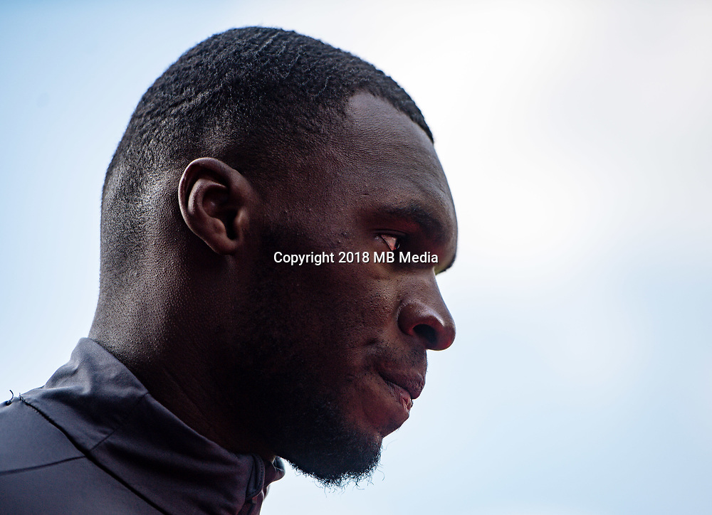 LONDON, ENGLAND - APRIL 14: Christian Benteke (17) of Crystal Palace during the Premier League match between Crystal Palace and Brighton and Hove Albion at Selhurst Park on April 14, 2018 in London, England. (Photo by MB Media/Getty Images)