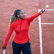 PARIS, FRANCE September 26.  Serena Williams of the United States training on Court Philippe-Chatrier in preparation for the 2020 French Open Tennis Tournament at Roland Garros on September 26th 2020 in Paris, France. (Photo by Tim Clayton/Corbis via Getty Images)