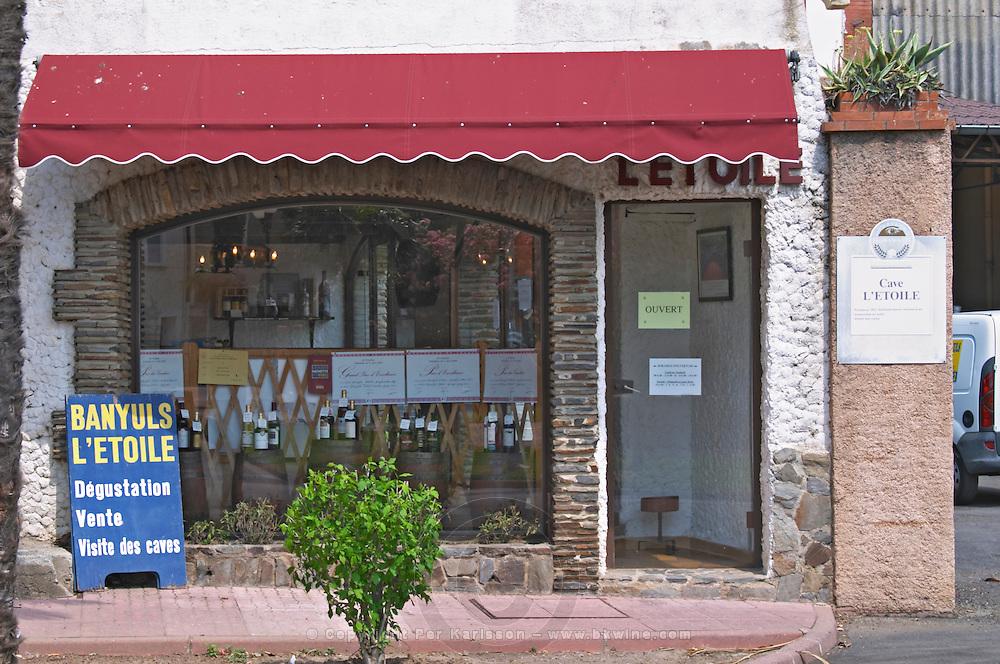 Wine shop. Cave cooperative Etoile. Banyuls sur Mer, Roussillon, France