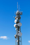 Urban provincial  cellular, microwave and telecom communications systems lattice tower in Swan Hill, Victoria, Australia. <br />