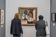Picasso Guitare Arrochee Au Mur £7.3m on the Dickinson Gallery -  Frieze Masters London 2016, Regents Park, London. It covers several thousand years of art from 130 of the world's leading modern and historical galleries. The vetted artworks spanning antiquities, Asian art, ethnographic art, illuminated manuscripts, Medieval, modern and post-war, Old Masters and 19th-century, photography, sculpture and Wunderkammer.  The fair is open to the public 06-09 October.