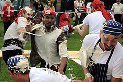 © Licensed to London News Pictures. 31/05/2014<br /> Joan Buce from team DilliGaf<br /> World Custard Pie Championships at Coxheath Heath Village,Coxheath,Kent.<br /> Photo credit :Grant Falvey/LNP