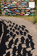 Public art installation called: One Fish, Two Fish along the Whitehorse Fish Ladder and Hatchery on the Yukon River rapids in Whitehorse, Yukon, Canada. The 366 meter wooden fish ladder is the world's longest.