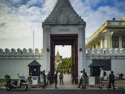 October 14, 2016 - Bangkok, Bangkok, Thailand - The entrance to the Grand Palace in Bangkok on Friday, the first day of mourning for the late Bhumibol Adulyadej, the King of Thailand. The King died Oct. 13, 2016. He was 88. His death comes after a period of failing health. With the king's death, the world's longest-reigning monarch is Queen Elizabeth II, who ascended to the British throne in 1952. Bhumibol Adulyadej, was born in Cambridge, MA, on 5 December 1927. He was the ninth monarch of Thailand from the Chakri Dynasty and is known as Rama IX. He became King on June 9, 1946 and served as King of Thailand for 70 years, 126 days. He was, at the time of his death, the world's longest-serving head of state and the longest-reigning monarch in Thai history. (Credit Image: © Jack Kurtz via ZUMA Wire)