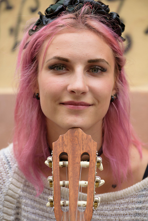Liza Salo, a young Ukrainian woman busking on the street in Lviv<br /> <br /> (September 2016)