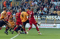 Photo: Kevin Poolman.<br />Wolverhampton Wanderers v Colchester United. Coca Cola Championship. 14/10/2006. <br />Jay Bothroyd (on the floor) scores Wolves opening goal.