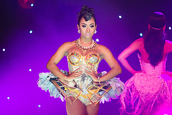 """© Licensed to London News Pictures. 13/05/2015. Brighton, UK. The lady Boys of Bangkok show returns to Brighton for a month long stay with their new show """"Beauty and the Beats"""". A cast of 16 Lady Boys alongside dancers the show returns for a record breaking 17th season touring the UK. Photo credit : Hugo Michiels/LNP"""
