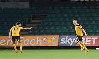 CELE - Newport County's Lee Minshull celebrates scoring his sides second goal <br /> <br /> Photographer Ashley Crowden/CameraSport<br /> <br /> Football - The Football League Sky Bet League Two - Newport County AFC v Carlisle United - Saturday 3rd January 2015 - Rodney Parade - Newport<br /> <br /> © CameraSport - 43 Linden Ave. Countesthorpe. Leicester. England. LE8 5PG - Tel: +44 (0) 116 277 4147 - admin@camerasport.com - www.camerasport.com