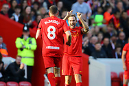 Jason McAteer of Liverpool legends team laughs at John Aldridge of Liverpool legends team after he missed a chance to score and is then brought off. Liverpool Legends  v Real Madrid Legends, Charity match for the LFC Foundation at the Anfield stadium in Liverpool, Merseyside on Saturday 25th March 2017.<br /> pic by Chris Stading, Andrew Orchard sports photography.