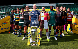 Anthony Watson of Bath Rugby, Jack Nowell of Exeter Chiefs, Ross Moriarty of Gloucester Rugby, Danny Care of Harlequins, Ben Youngs of Leicester Tigers, Topsy Ojo of London Irish, Toby Flood of Newcastle Falcons, Dylan Hartley of Northampton Saints, James O'Connor of Sale Sharks, Jamie George of Saracens James Haskell of Wasps and Donnacha O'Callaghan of Worcester Warriors launch The 2017/18 Aviva Premiership Rugby season - Mandatory by-line: Robbie Stephenson/JMP - 24/08/2017 - RUGBY - Twickenham - London, England - Premiership Rugby Launch