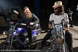 Brent Rogers (L) and Kosuke Saito of Sunrise Cycles on their 1936 Knucklehead choppers as they stage for the grand entry into the Annual Mooneyes Yokohama Hot Rod and Custom Show. Japan. Sunday, December 7, 2014. Photograph ©2014 Michael Lichter.