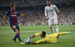 August 16, 2017 - Madrid, Spain - Keylor Navas stops the ball from Sergi Roberto. Real Madrid defeated Barcelona 2-0 in the second leg of the Spanish Supercup football match at the Santiago Bernabeu stadium in Madrid, on August 16, 2017. (Credit Image: © Antonio Pozo/VW Pics via ZUMA Wire)