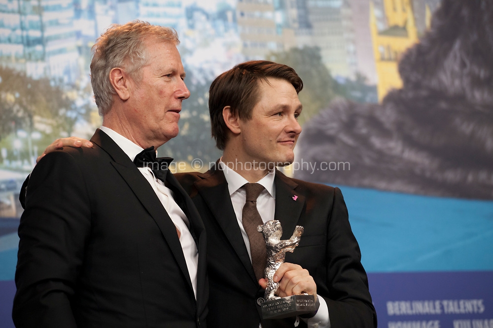 Rasmus Videbaek, winner of the Silver Bear for an Outstanding Artistic Contribution in the categories camera for Out Stealing Horses with Director Hans Petter Moland at the award winners press conference at the 69th Berlinale International Film Festival, on Saturday 16th February 2019, Hotel Grand Hyatt, Berlin, Germany.
