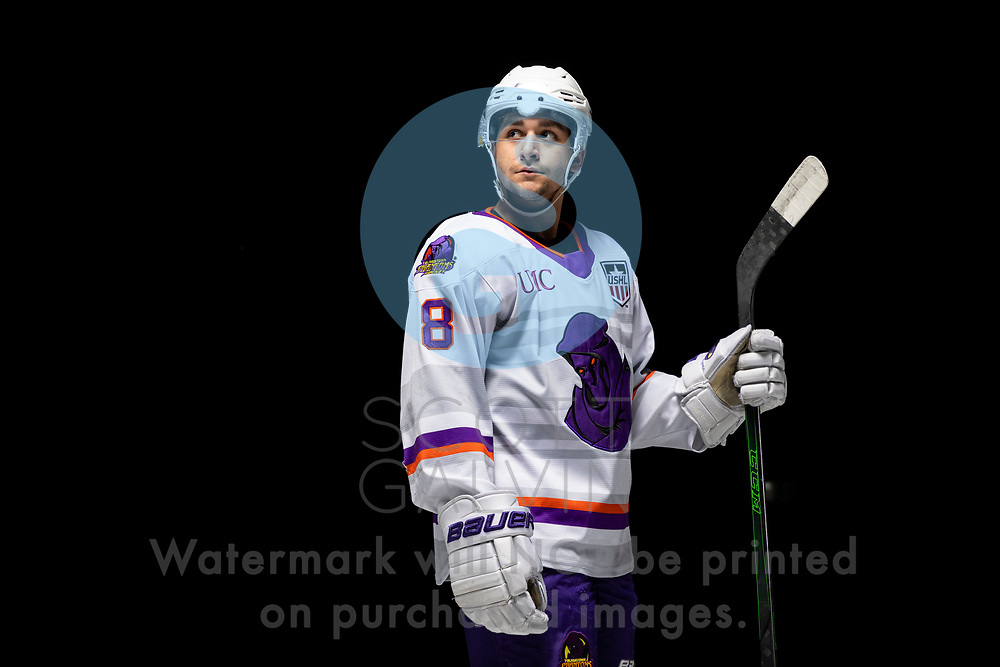 Youngstown Phantoms player photo shoot on April 14, 2021. <br /> <br /> Jack Silich, forward, 8