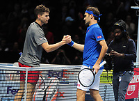 Tennis - 2018 Nitto ATP Finals at The O2 - Day Two<br /> <br /> Mens Singles : Roger Federer (SUI) v Dominic Thiem (Aut)<br /> <br /> Dominic Thiem congratulates Federer at the net after the match<br /> <br /> COLORSPORT/ANDREW COWIE