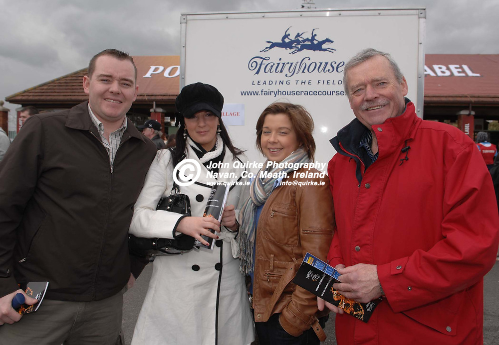 24-03-08. Fairyhouse Races - Powers Whiskey Irish Grand National.<br /> L to R: Gary McGlinn, Lisa Ray, Noreen McGlinn and Peter McGlinn all from Ratoath.<br /> Photo: www.quirke.ie<br /> ©John Quirke Photography, Unit 17, Blackcastle Shopping Cte.<br /> Navan. Co. Meath. 046-9079044 / 087-2579454.