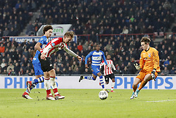 (L-R) Phillipe Sandler of PEC Zwolle, Luuk de Jong of PSV, Kingsley Ehizibue of PEC Zwolle, goalkeeper Mike Hauptmeijer of PEC Zwolle during the Dutch Eredivisie match between PSV Eindhoven and PEC Zwolle at the Phillips stadium on February 03, 2018 in Eindhoven, The Netherlands