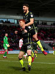 Rory Gaffney of Bristol Rovers celebrates with teammate Ryan Sweeney after scoring a goal to make it 2-1 - Mandatory by-line: Robbie Stephenson/JMP - 27/01/2018 - FOOTBALL - The Keepmoat Stadium - Doncaster, England - Doncaster Rovers v Bristol Rovers - Sky Bet League One