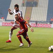 Galatasaray's Wesley Sneijder (R) during their Turkish Superleague soccer match Kasimpasa SK between Galatasaray at the Recep Tayyip Erdogan stadium in Istanbul Turkey on Saturday 21 March 2015. Photo by Aykut AKICI/TURKPIX