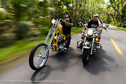 Xavier Muriel riding a Little Twisted, the Twisted Tea Panhead built by Cycle Source Magazine alongside Ray-Ray on Jay Allen's Shovelhead through Tomoka State Park during Daytona Bike Week. FL. USA. Sunday March 18, 2018. Photography ©2018 Michael Lichter.