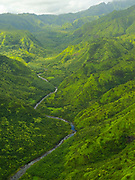 Aerial view of the Hanalei River Valley, Kauai, Hawaii on a cloudy day.