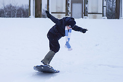 © Licensed to London News Pictures. 08/01/2021. Darlington, UK. Oliver,15, enjoys skateboarding  in the snow at Hardwick County Park in Darlington.The Met Office issues yellow weather warning of snow and ice that will be affecting many parts of the UK for today.Photo credit: Ioannis Alexopoulos/LNP